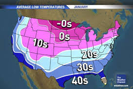 Normal weather in the US for the month of January (winter)