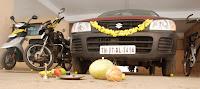 Car prayer for Navarathri in India
