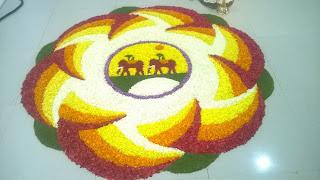 Pookkalam or flower carpet created on Onam