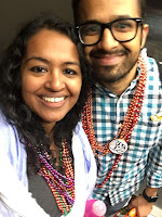 A couple celebrating Mardi Gras