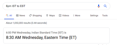 Time Zone Conversion on Google
