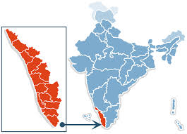 Kerala is the state highlighted in red. Tamil Nadu borders it to the east.